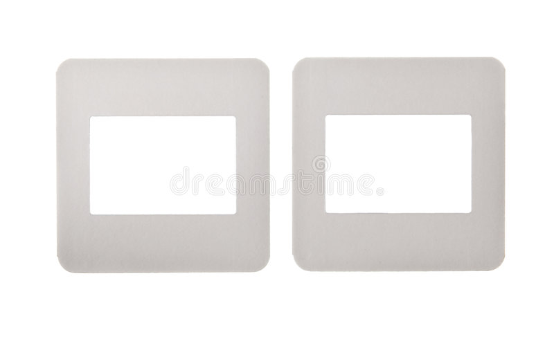 Vintage paper slides isolated on white stock photography