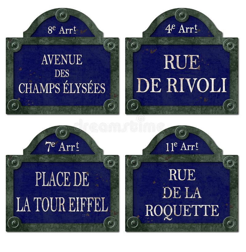 Vintage Paris Street Signs Antique. Including champs elysees, rue de rivoli, eiffle tower and rue de la roquette stock photos