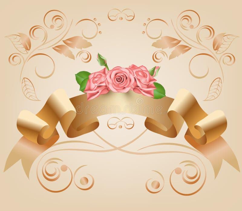 Vintage, pastel, cinta decorativa con las flores, rosas rosadas Vector Voluta del pergamino y del papiro en el ornamental ilustración del vector