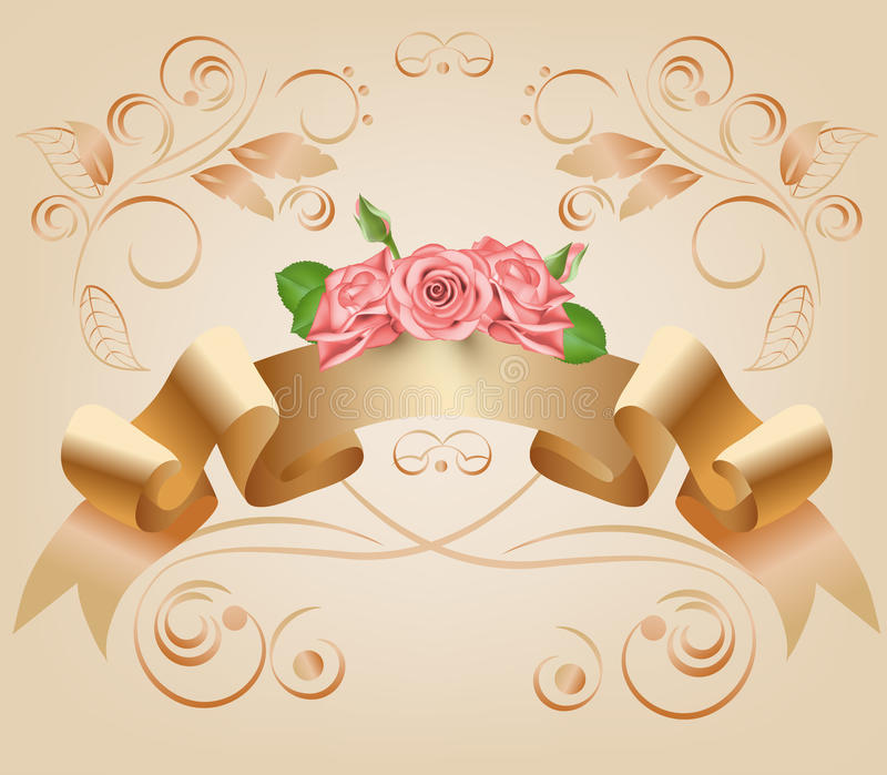 Vintage, pastel, decorative ribbon with flowers, pink roses.Vector. Parchment and papyrus scroll on the ornamental vector illustration