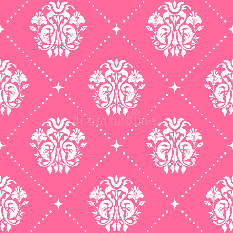 Vintage pattern baroque style in pink color royalty free illustration