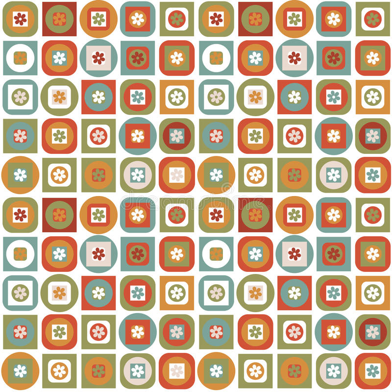 Vintage pattern of geometric shapes and flowers royalty free illustration