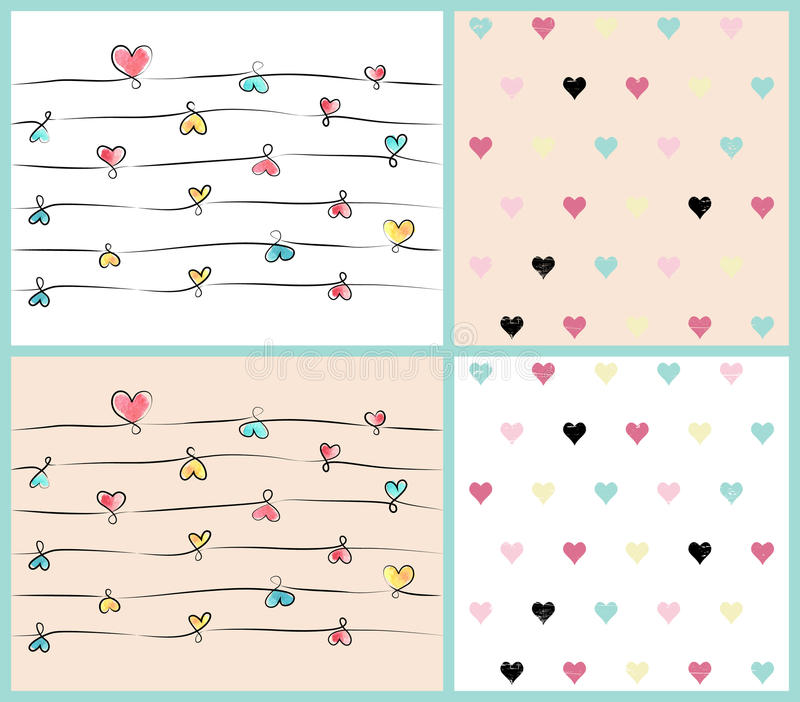 Vintage pattern with hearts royalty free stock photos