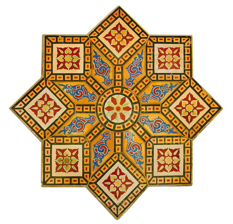 Vintage pattern made by ancient wall tiles. Ancient tile decoration arabian style stock photos