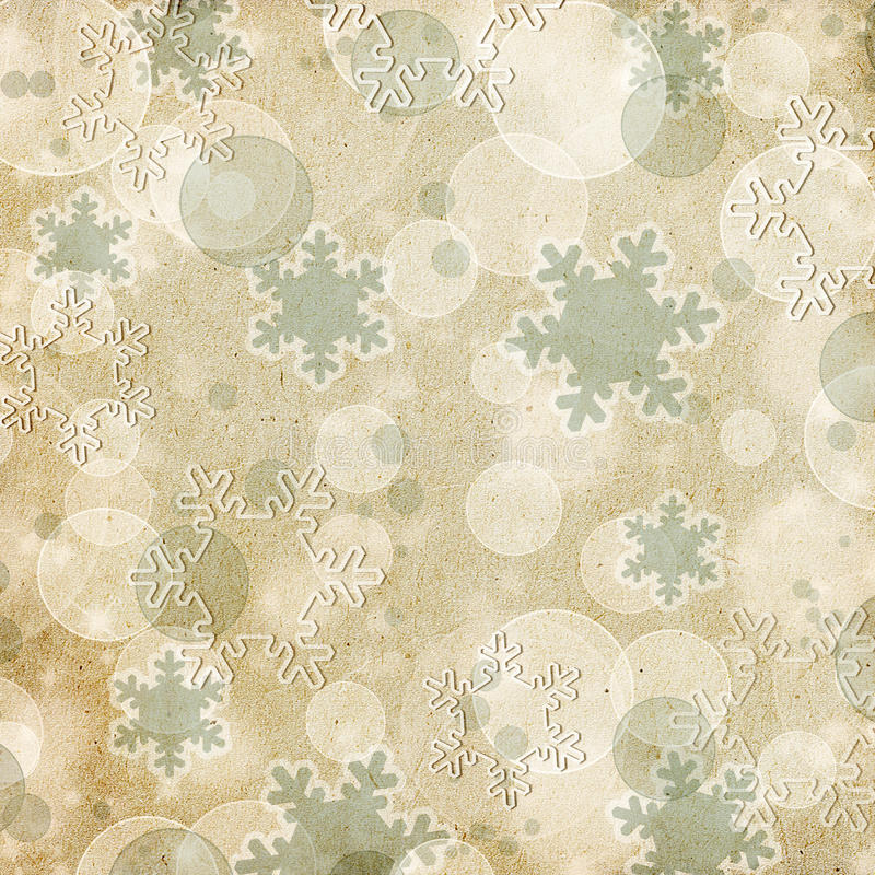 Vintage pattern with snowflake. Vintage paper pattern or background with snowflakes and bokeh royalty free stock image