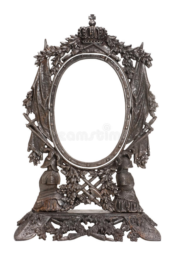 Vintage patterned metal frame for mirror stock photos