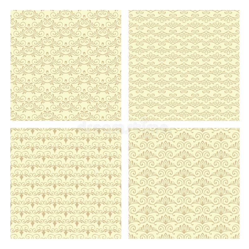 Vintage patterns. Set of four seamless vintage patterns in vector royalty free illustration