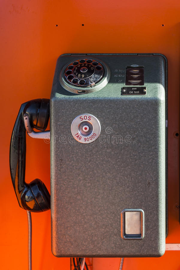 Vintage pay phone stock image