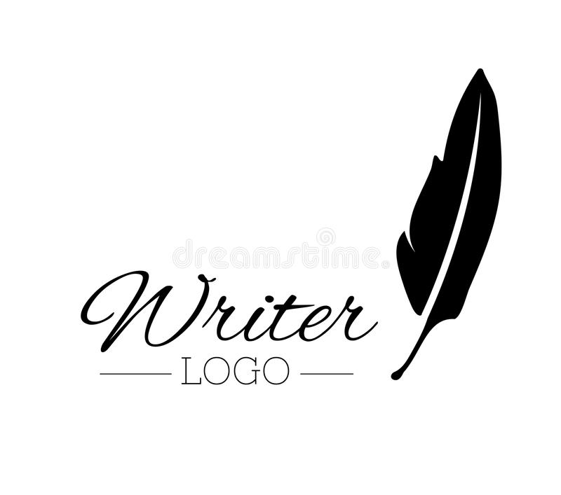 vintage pen feather writer symbol, literature icon, diary sign, black illustration, writer logo templated royalty free illustration