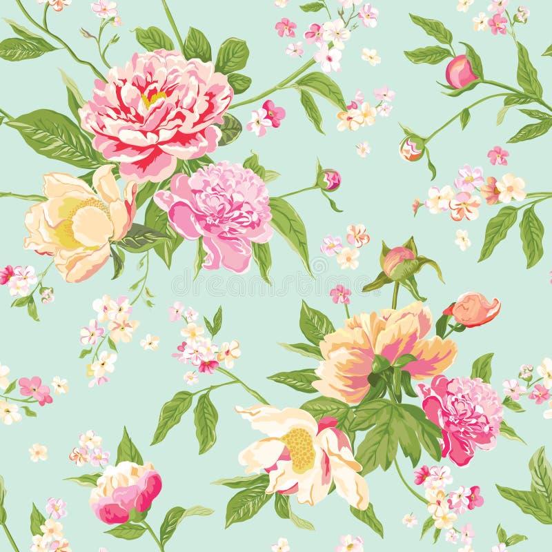Vintage Peony Flowers Background stock illustration