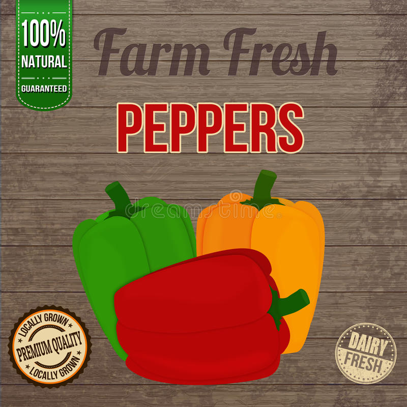 Free Vintage Peppers Poster Royalty Free Stock Photography - 43231427