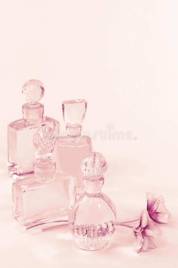 Vintage perfume bottles on pink royalty free stock photos
