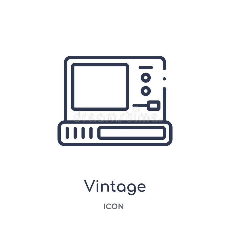 Vintage personal computer icon from technology outline collection. Thin line vintage personal computer icon isolated on white. Background vector illustration
