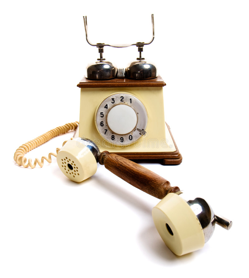 Vintage phone. Isolated on white royalty free stock image