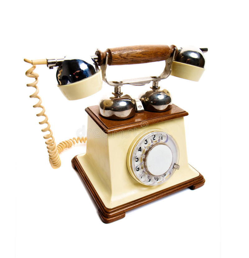 Vintage phone. Isolated on white stock images
