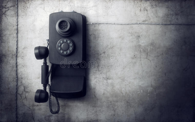 Vintage phone on concrete wall vector illustration