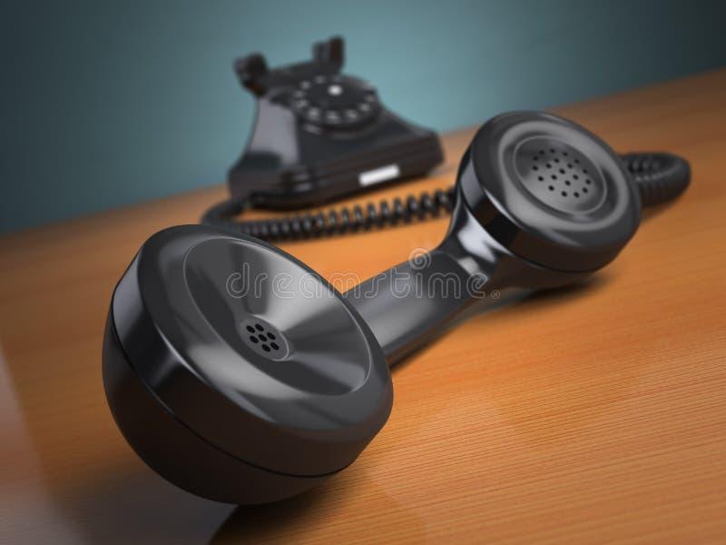 Vintage phone on green background. Hotline support concept. vector illustration