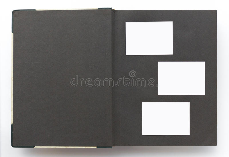 Vintage photo album with blank page, white photos frame stock images