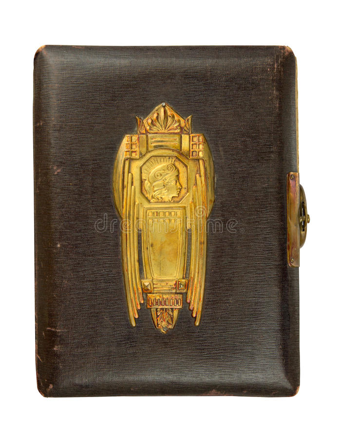Vintage photo album cover. Circa 1900 with buckle and brass engraved decoration, isolated on white, contains clipping path stock images
