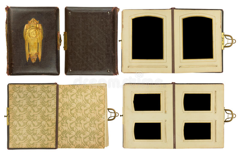 Vintage photo album. Cover and double pages of vintage photo album circa 1900 with clasp and brass engraved decoration, isolated on white, contains clipping stock photo