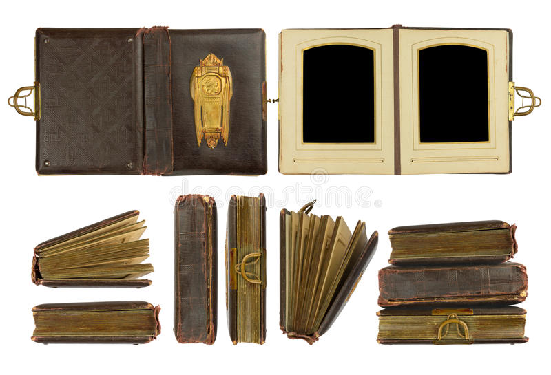 Vintage photo album. Different perspectives of vintage photo album circa 1900 with buckle and brass engraved decoration, isolated on white, contains working stock photography