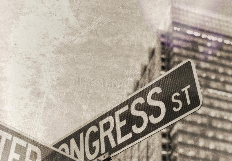 Vintage photo of american street signs stock image