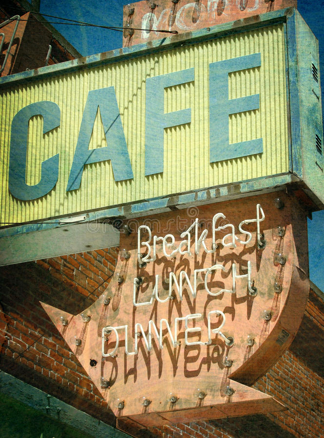 Download Vintage Photo Of Cafe Sign Royalty Free Stock Image - Image: 27003796