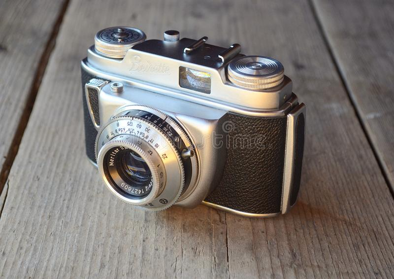 Vintage photo camera East Germany Beirette Junior II, E. Ludwig. Beirette was a name applied to a long sequence of compact 35mm viewfinder camera models, made stock image