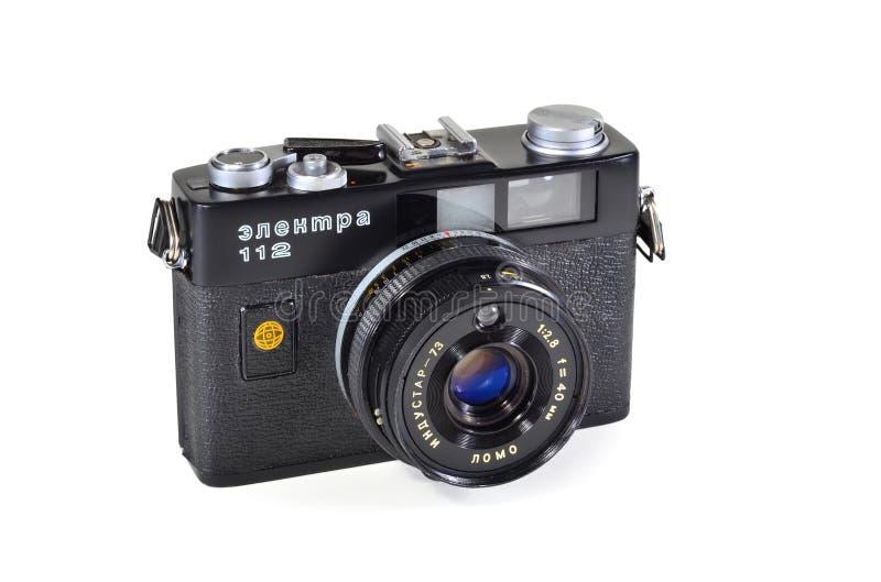 Vintage photo camera Electra-112 with Industar-73 lens. Donetsk, Ukraine - June 6, 2014: Retro camera Electra-112 - soviet small-format automatic rangefinder royalty free stock image