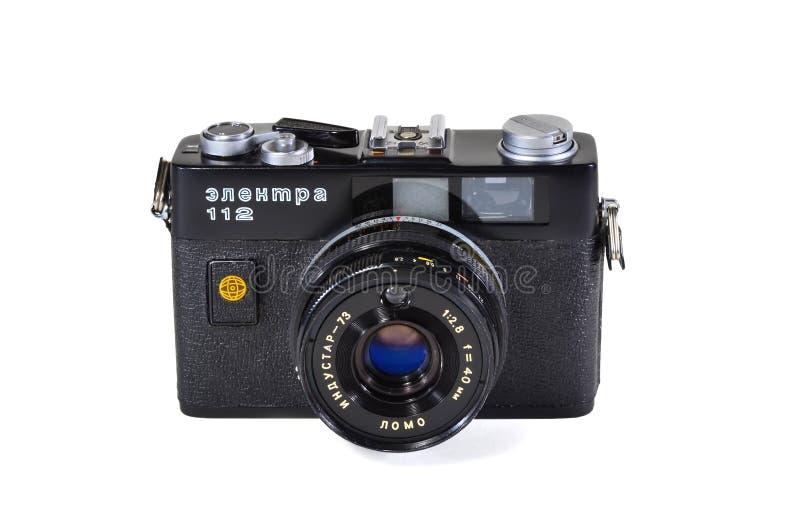 Vintage photo camera Electra-112 with Industar-73 lens. Donetsk, Ukraine - June 6, 2014: Retro camera Electra-112 - soviet small-format automatic rangefinder stock photos