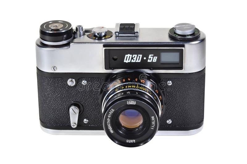 Vintage photo camera FED-5V with Industar-61L-D lens. Donetsk, Ukraine - June 6, 2014: Retro camera FED-5V - soviet rangefinder camera with Industar-61L-D lens royalty free stock images