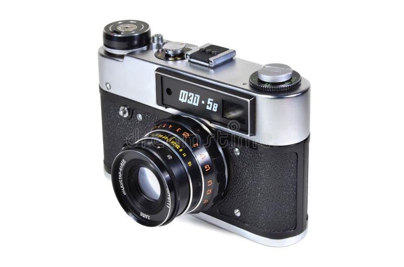 Vintage photo camera FED-5V with Industar-61L-D lens. Donetsk, Ukraine - June 6, 2014: Retro camera FED-5V - soviet rangefinder camera with Industar-61L-D lens stock images