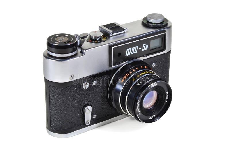 Vintage photo camera FED-5V with Industar-61L-D lens. Donetsk, Ukraine - June 6, 2014: Retro camera FED-5V - soviet rangefinder camera with Industar-61L-D lens royalty free stock photo