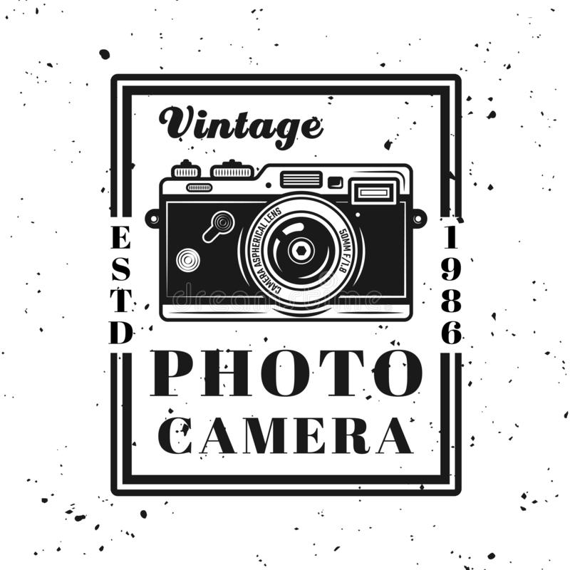 Vintage photo camera vector emblem in retro style stock illustration