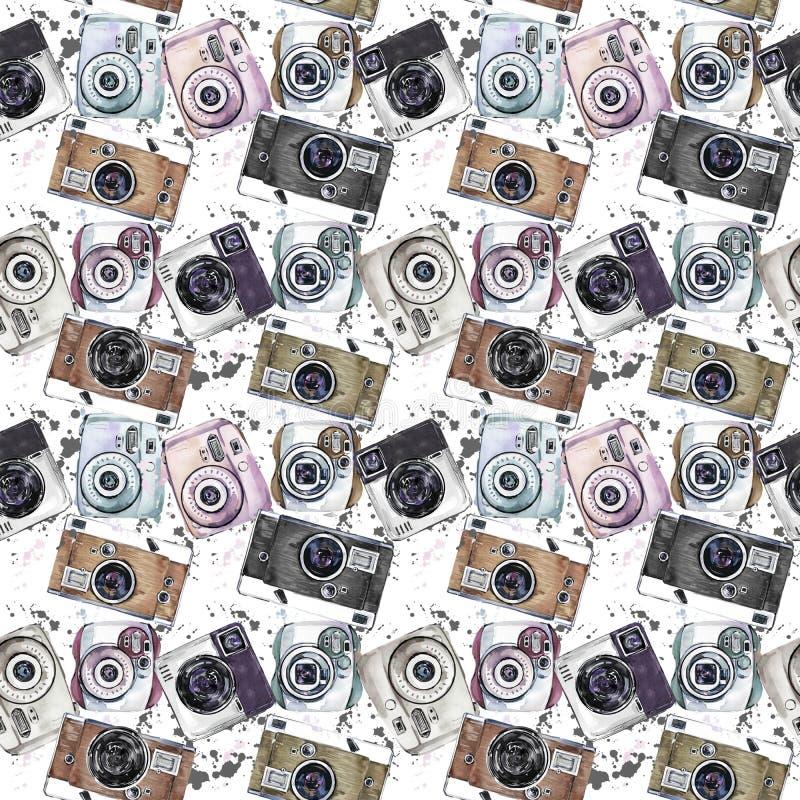 Vintage photo camera watercolor seamless pattern. Retro background royalty free illustration