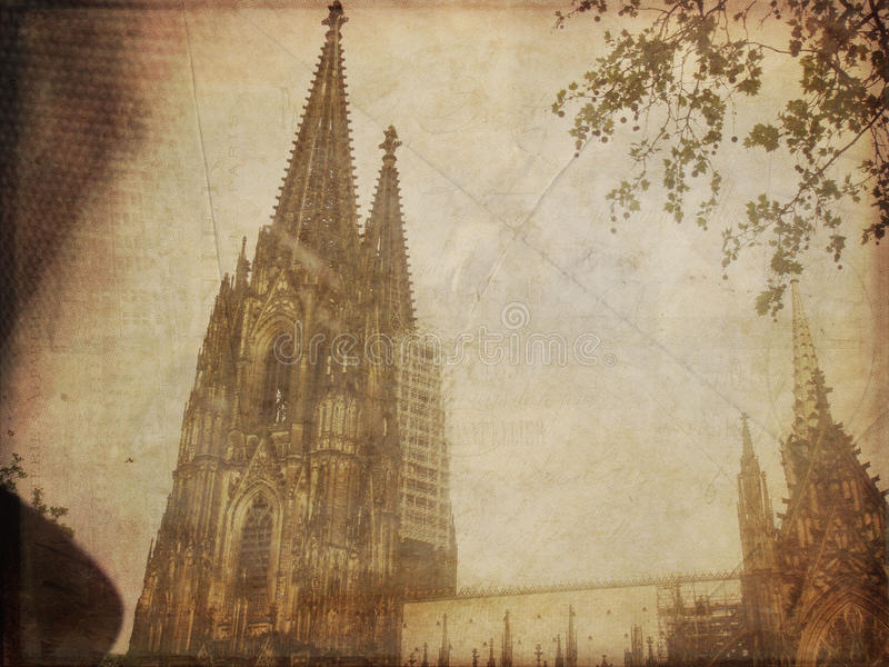 Vintage Photo of the Cologne Cathedral stock photos