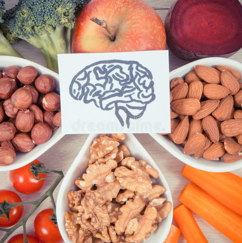 Vintage photo, Drawing of brain and best food for health and good memory, healthy eating concept stock photos