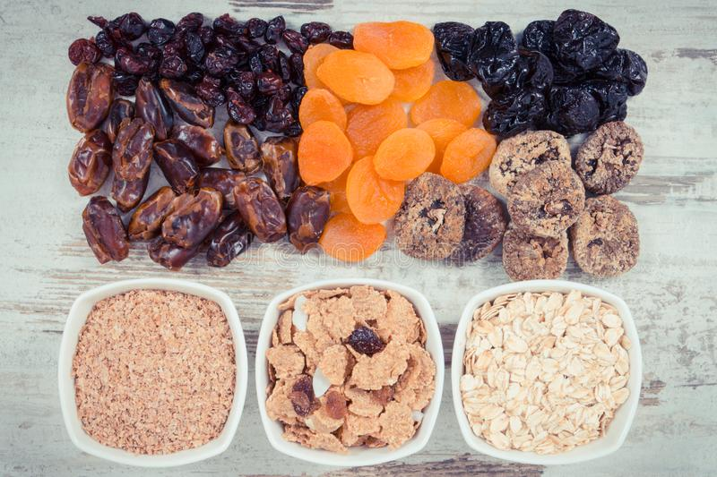 Vintage photo, Food containing natural vitamins and dietary fiber, healthy nutrition concept stock photography
