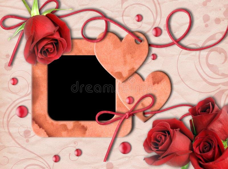 Download Vintage Photo Frame, Red Roses And Heart Stock Illustration - Image: 22717010