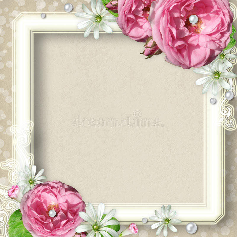 Vintage Photo Frame with roses vector illustration