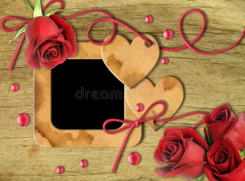 Vintage photo frames, red roses and heart vector illustration
