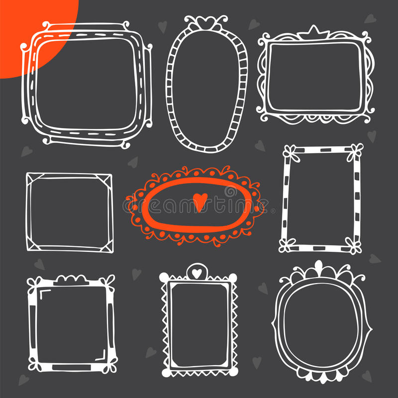 Vintage photo frames. Set of hand drawn vector design elements stock illustration