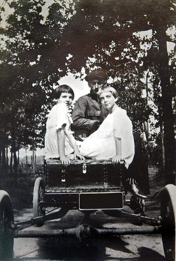 Vintage Photo of Girls in a Car stock photos