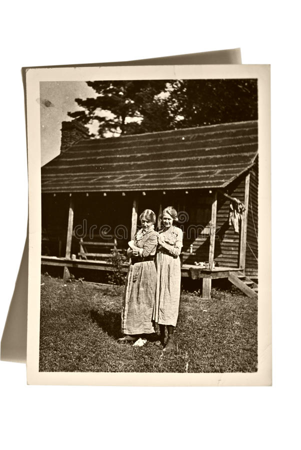 Vintage Photo Girls and House stock images