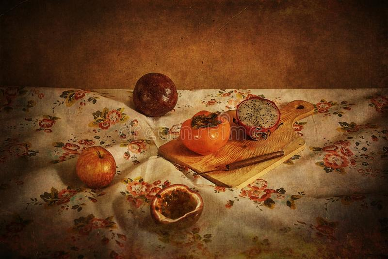 Vintage photo of a group of fruits on the table royalty free stock photos