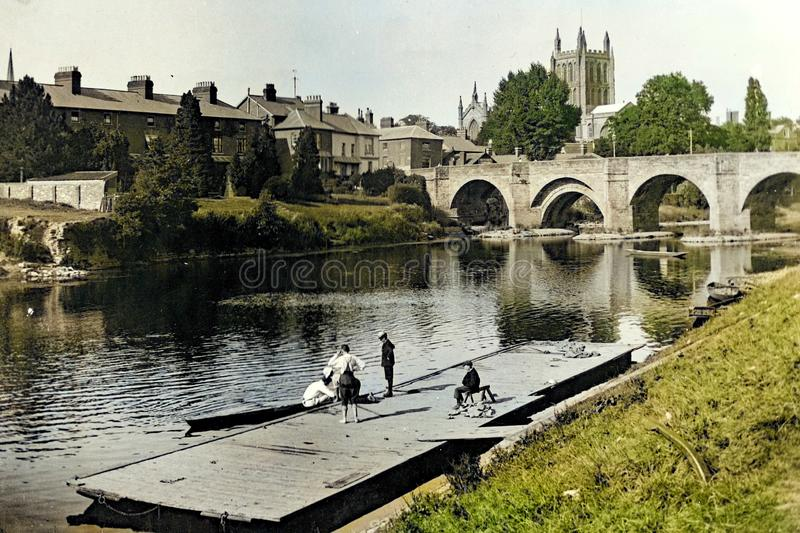 Vintage 1897 Photo - Hereford and River Wye. Vintage colorized 1897 Photo - Hereford, Cathedral and Bridge over the River Wye royalty free stock images