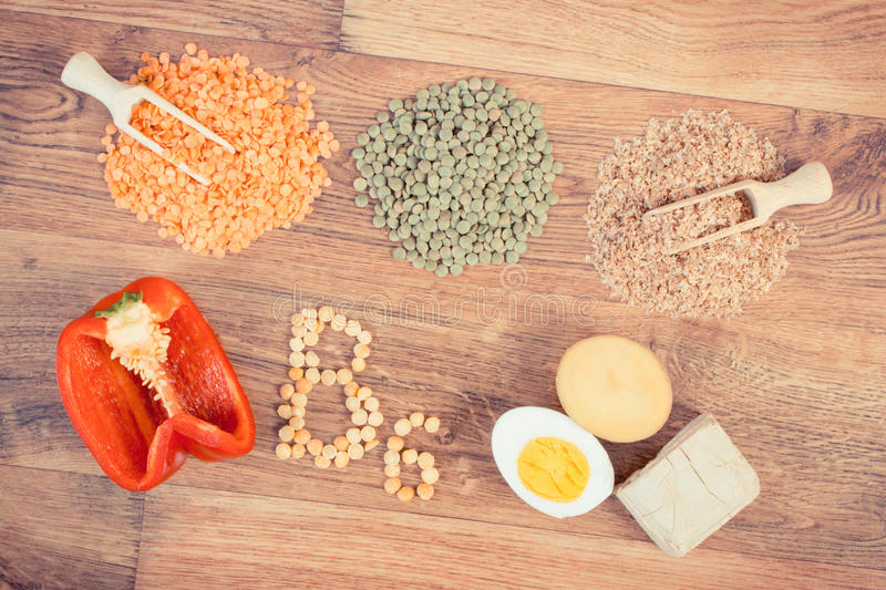 Vintage photo, ingredients containing vitamin B6 and dietary fiber, concept of healthy food stock photo