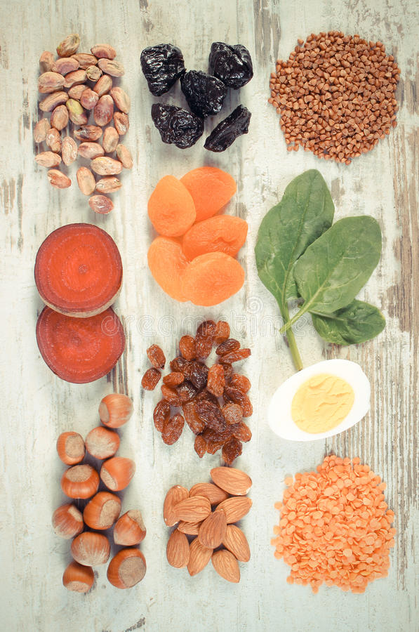 Vintage photo, Ingredients and products containing iron and dietary fiber, healthy nutrition. Vintage photo, Ingredients and product containing iron and dietary stock photos