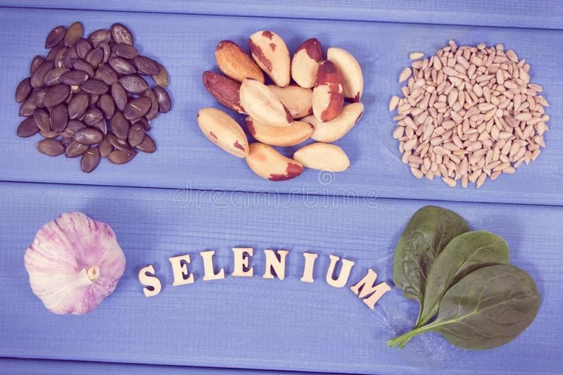 Vintage photo, Natural ingredients as source selenium, vitamins, minerals and dietary fiber. Vintage photo, Natural ingredients or products as source selenium royalty free stock photography