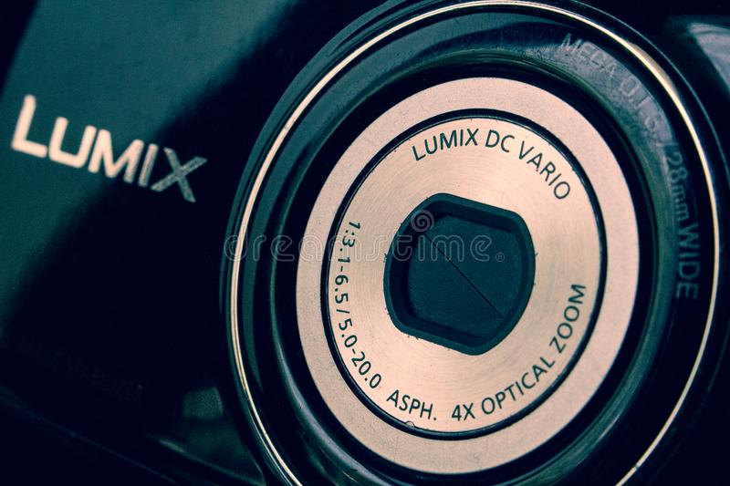 Vintage photo of an old Panasonic Lumix digital camera. Product, illustration, editorial, megapixels, photography, still, aperture, shutter, screen stock photography